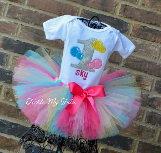 Bubble Bash Birthday Tutu Outfit (Sky)