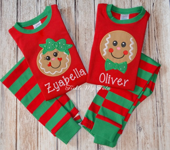 Christmas Pajamas with Gingerbread Design