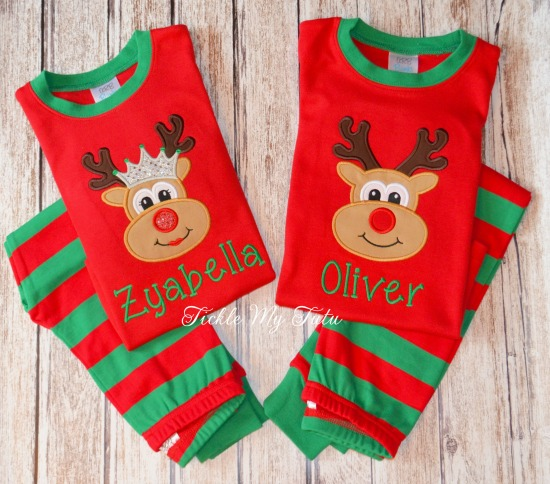 Christmas Pajamas with Reindeer Design