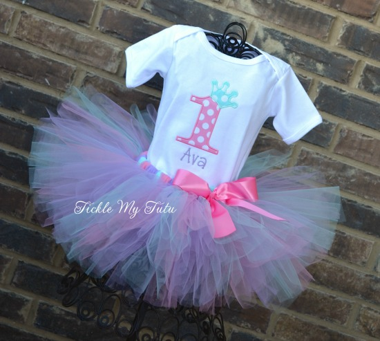 "Pink, Aqua, and Lilac Birthday Crown ""Ava"" Tutu Outfit"
