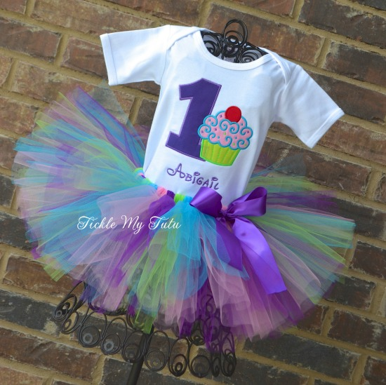 "Cupcake Swirl ""Abigail"" Birthday Tutu Outfit"