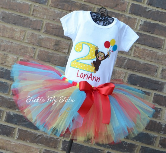 Curious George with Balloons Birthday Tutu Outfit