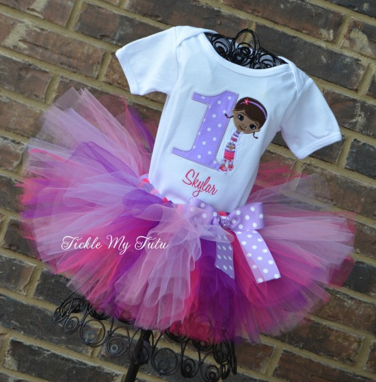 Doc McStuffins Inspired Birthday Tutu Outfit (Lilac Polka Dot Number)