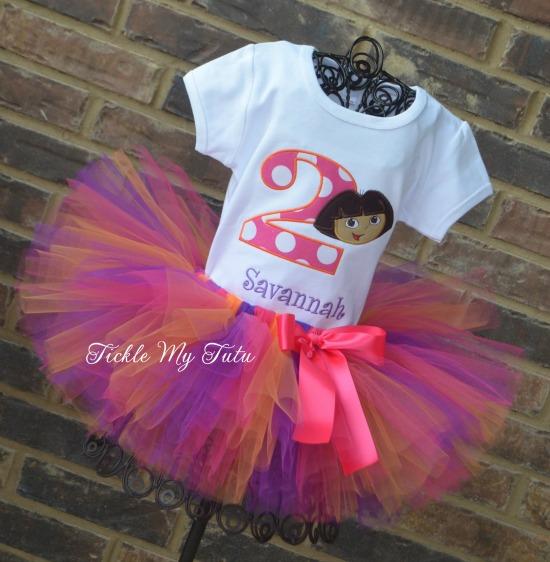 Dora Themed Birthday Tutu Outfit
