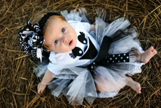Greta the Ghost Halloween Tutu Costume (black and white)