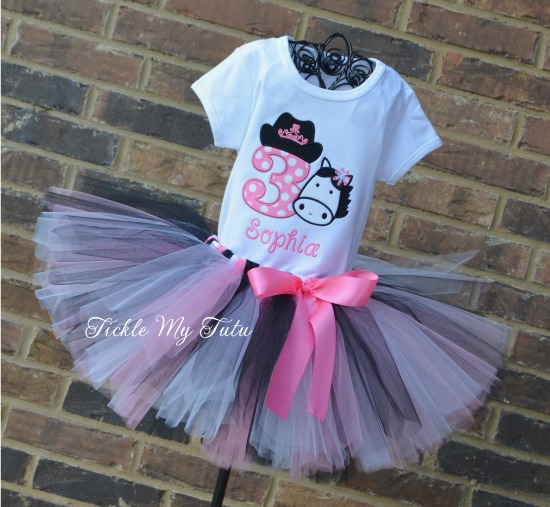 Cowgirl/Horse Themed Birthday Tutu Outfit