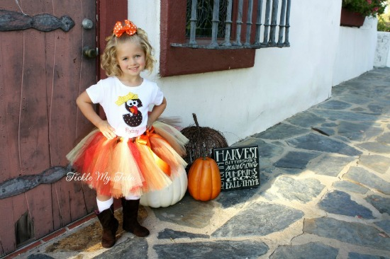 Initial Turkey Thanksgiving Tutu Outfit