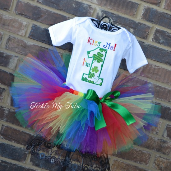 Kiss Me, I'm ONE Birthday Tutu Outfit (Rainbow Colors)