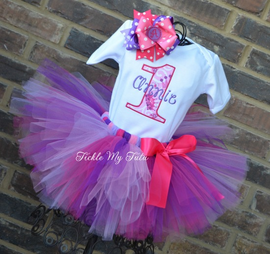 "Lil' Princess Pink and Purple ""Annie"" Birthday Tutu Outfit"