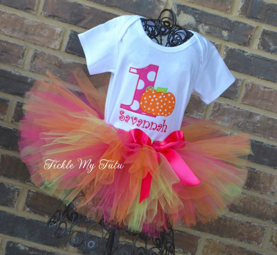 Little Pumpkin (Savannah) Birthday Tutu Outfit (dark pink, orange, and lime tutu)