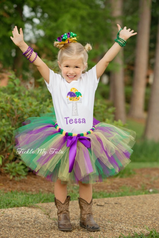 Mardi Gras Initial with Jester Hat Tutu Outfit