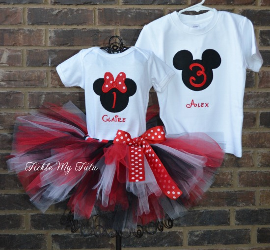 Boy/Girl Twin Mickey and Minnie Red Polka Dot Birthday Tutu Set