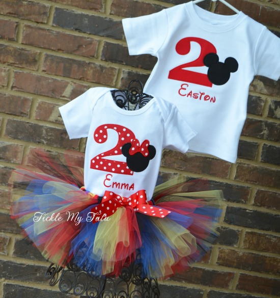 Boy/Girl Twin Mickey and Minnie Clubhouse Birthday Tutu Set