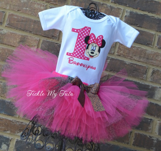 Minnie Mouse Cheetah Print Birthday Tutu Outfit