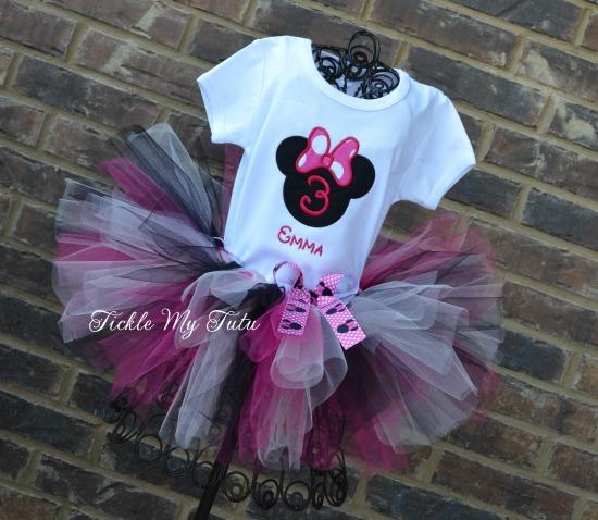 "Minnie Mouse Dark Pink Polka Dot ""Emma"" Birthday Tutu Outfit"
