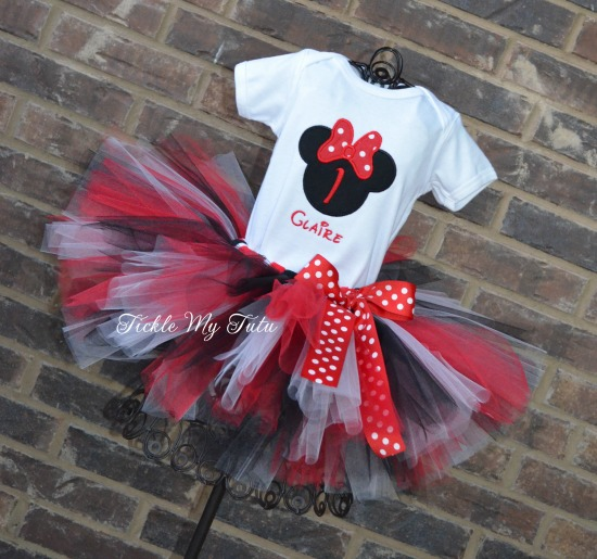 """Minnie Mouse Red Polka Dot """"Claire"""" Birthday Tutu Outfit"""