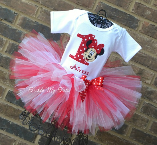 """Minnie Mouse Face Red Polka Dot """"Aivree"""" Birthday Tutu Outfit"""