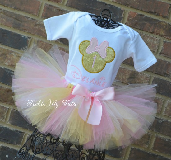Minnie Mouse Birthday Tutu Outfit in Pink and Gold