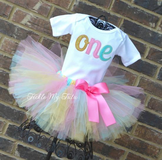 Elegant Pink, Aqua, and Gold Glitter Birthday Tutu Outfit