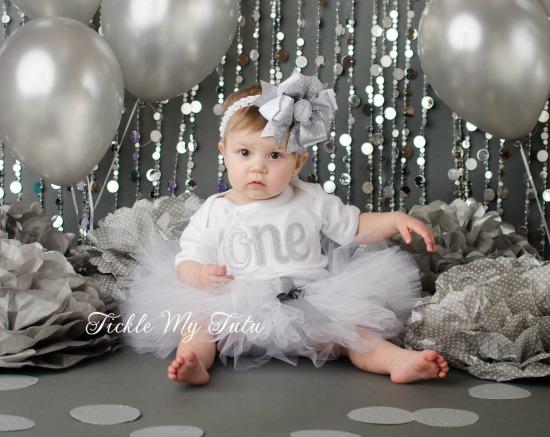 Elegant Silver Glitter Birthday Tutu Outfit
