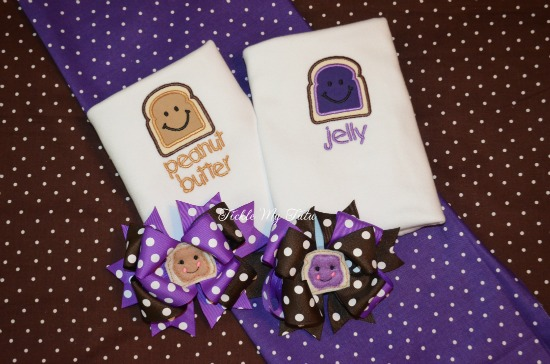 Peanut Butter and Jelly Twin Set for Baby Girls