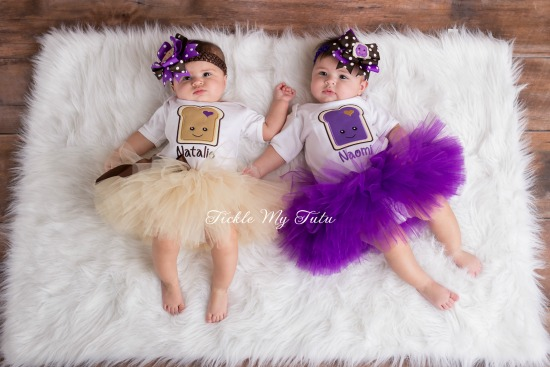 Peanut Butter and Jelly Twin Girls Tutu Set with Names