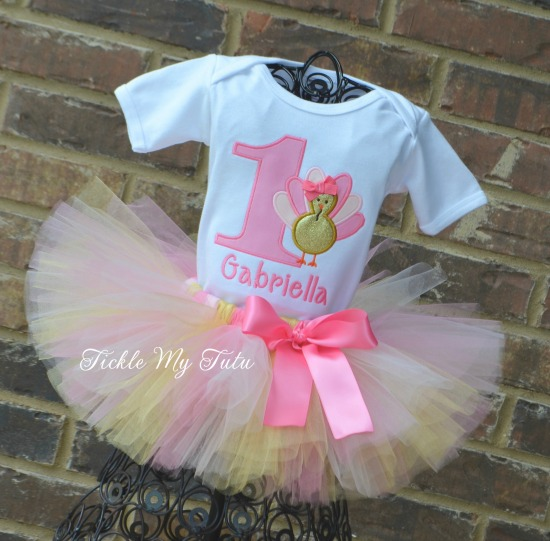 Pink and Gold Turkey Birthday Tutu Outfit
