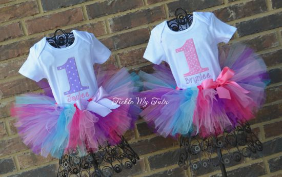 Twin Pink and Lilac Polka Dot Birthday Tutu Outfits