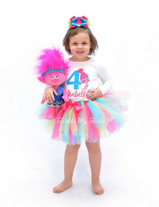 Poppy Troll Birthday Tutu Outfit (turquoise number)
