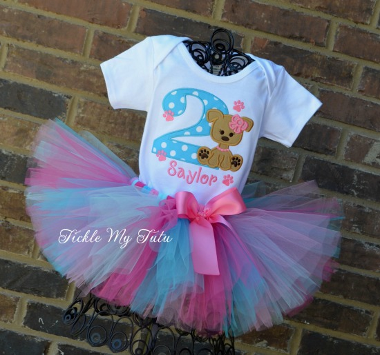 Puppy PAW-ty Birthday Tutu Outfit (Dark Pink, Turquoise, Pink, and Aqua)