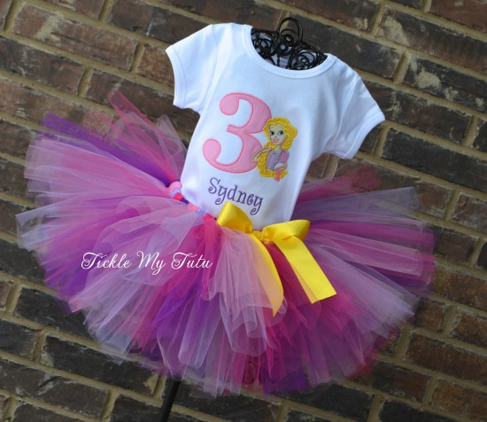 Rapunzel Inspired Birthday Number Tutu Outfit