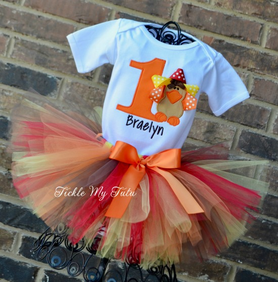 Thanksgiving Birthday Tutu Outfit (ribbon turkey)