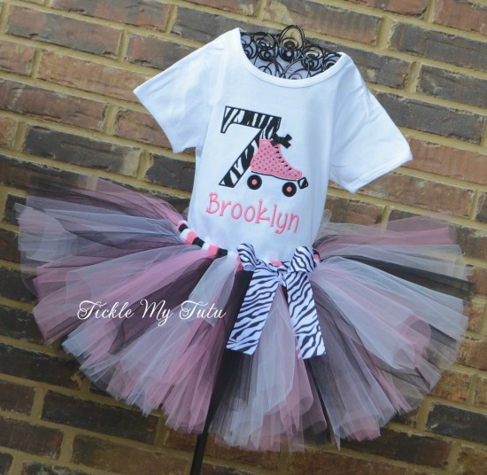 Roller Skating Birthday Tutu Outfit (Pink and Zebra Print)