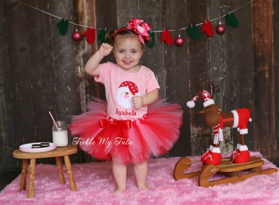 Pink and Red Santa Themed Christmas Tutu Outfit