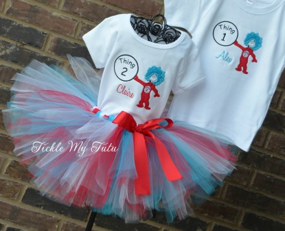 Boy/Girl Twin Thing 1 and 2 Birthday Tutu Outfit