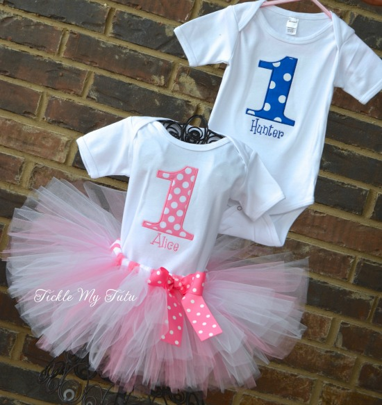 Boy/Girl Twin Blue and Pink Polka Dot Party Themed Birthday Tutu Set