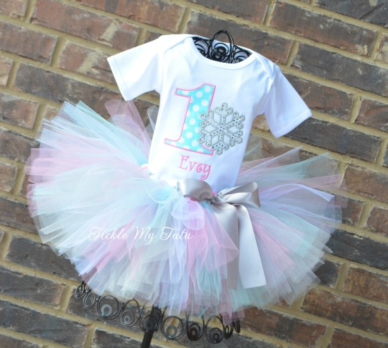 "Winter ONEderland Aqua Dot and Pink ""Evey"" Snowflake Birthday Tutu Outfit"