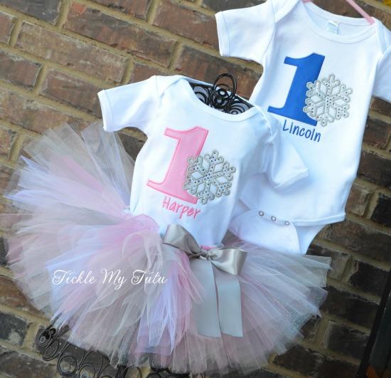 Boy/Girl Twin Winter ONEderland Birthday Set (Pink and Blue)