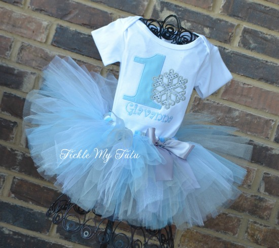 Winter ONEderland Baby Blue Snowflake Birthday Tutu Outfit