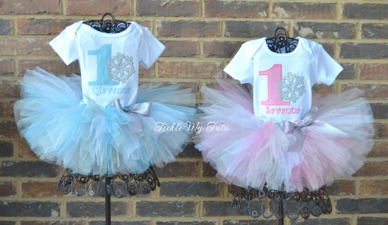 Winter ONEderland Snowflake Twin Girls' Birthday Tutu Outfit (Pink and Baby Blue)