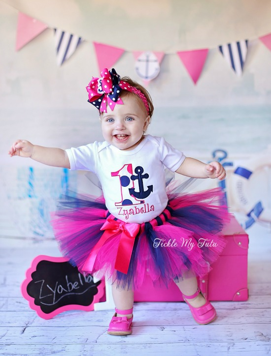Anchor Themed Dark Pink and Navy Birthday Tutu Outfit