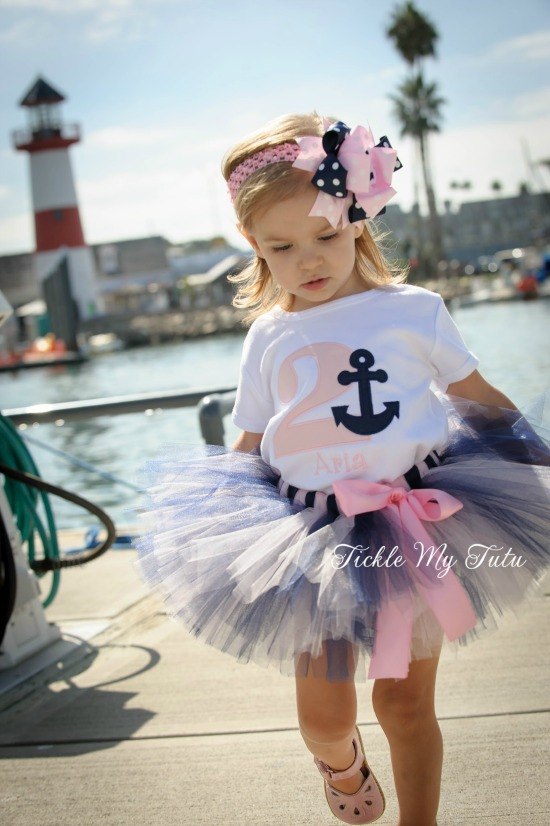 Anchor Themed Light Pink and Navy Birthday Tutu Outfit