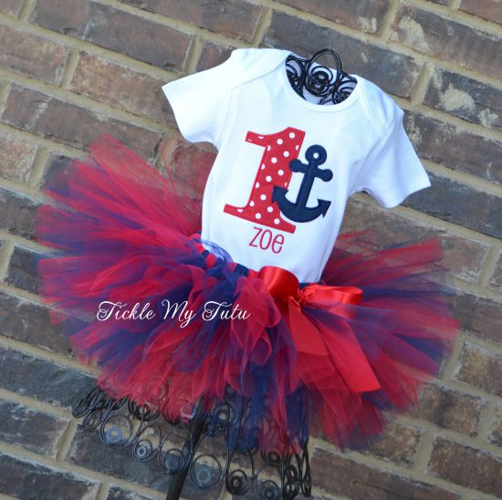 Anchor Themed Red and Navy Birthday Tutu Outfit