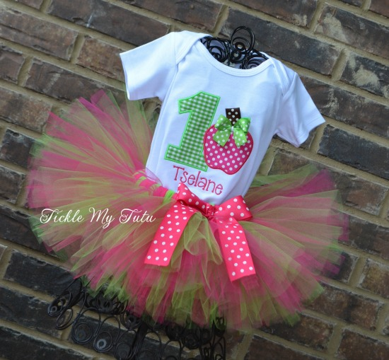 Apple of My Eye Birthday Tutu Set (Hot Pink and Lime Green)