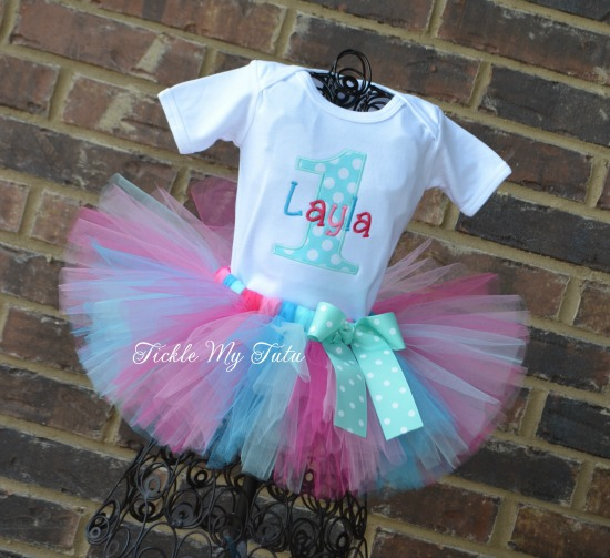 Aqua Dot and Pink Birthday Tutu Outfit