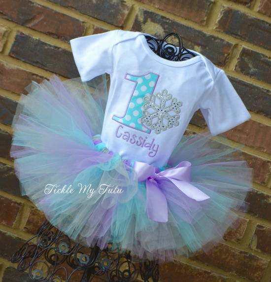 Winter ONEderland Aqua Dot and Lilac Snowflake Birthday Tutu Outfit