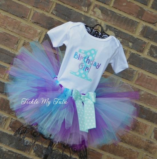 Aqua Dot and Purple Birthday Tutu Outfit
