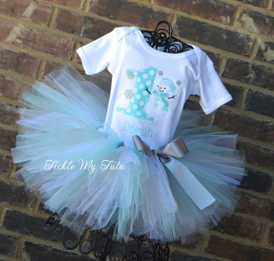 Winter ONEderland Aqua Dot Snowman Birthday Tutu Outfit