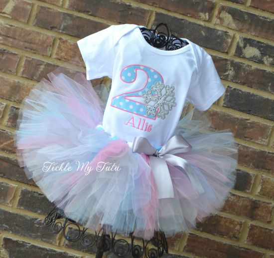 Winter ONEderland Baby Blue Polka Dot and Pink Snowflake Birthday Tutu Outfit