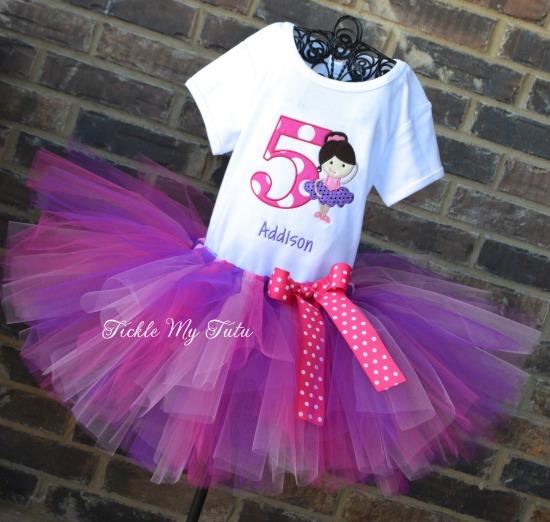 Prima Ballerina Pink and Purple Birthday Tutu Outfit